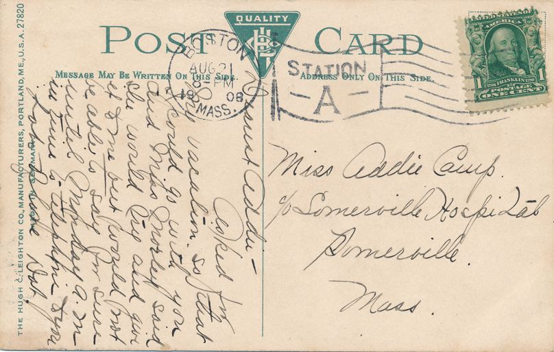 Old Auto at City Hospital - Boston, Massachusetts - pm 1908 - Divided Back