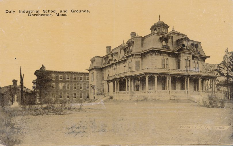 Daly Industrial School and Grounds - Dorchester, Massachusetts - pm 1911 at Boston - Divided Back