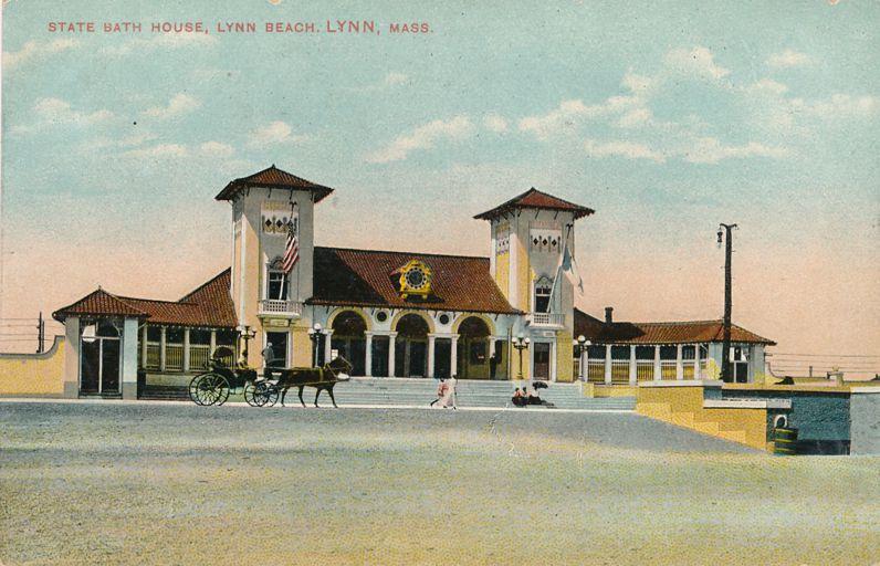 Horse and Carriage at State Bath House at Lynn Beach - Lynn, Massachusetts - pm 1908 - Divided Back