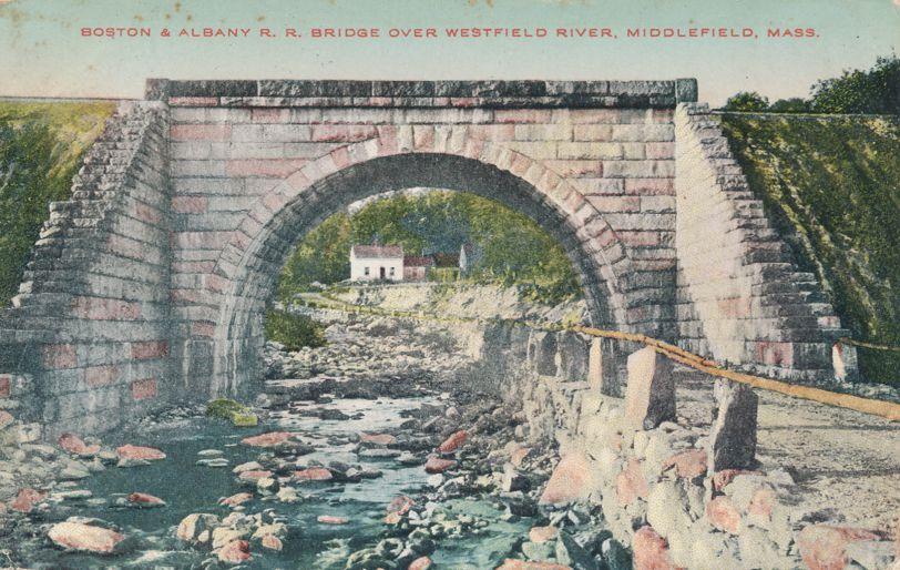 Boston & Albany Railroad Bridge - Westfield River, Middlefield, Massachusetts - pm 1912 - Divided Back