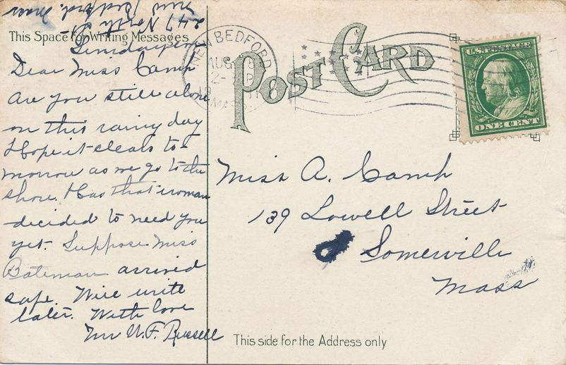 Post Office at New Bedford, Massachusetts - pm 1911 - Divided Back