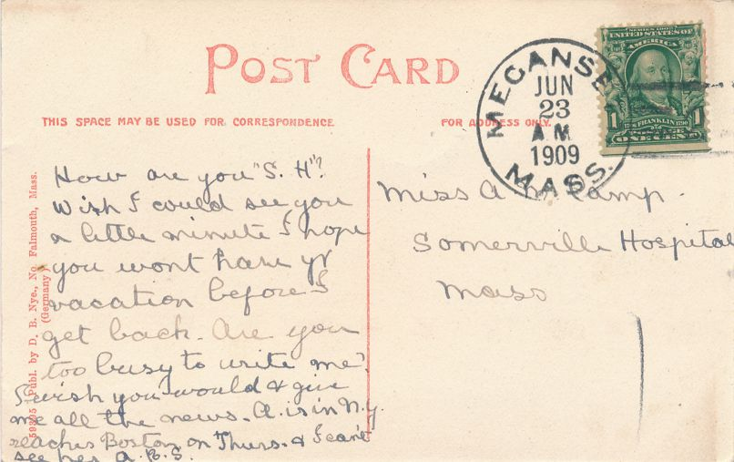 Ye Old Town Pump - North Falmouth, Massachusetts - DPO 1909 at Megansett MA - Divided Back