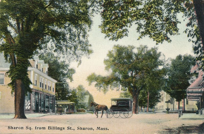 Horse and Wagon on Sharon Square from Billings Street - Sharon, Massachusetts - pm 1908 - Divided Back