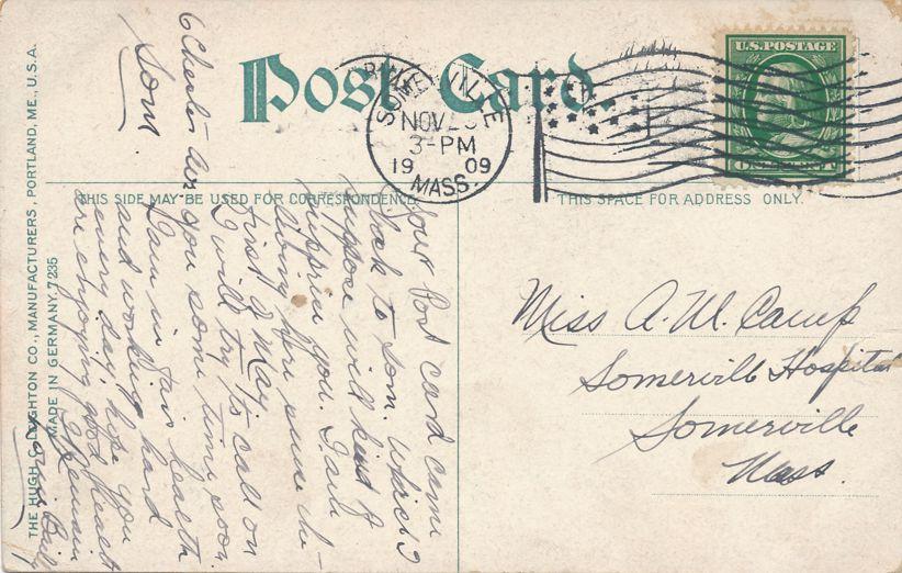 City Hall of Somerville, Massachusetts - pm 1909 - Divided Back