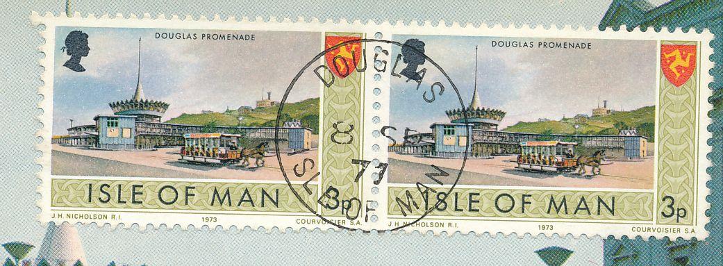 Isle of Man #17 - Horse Tram on Douglas Promenade - Stamps on Matching Postcard - pm 1977 at Douglas IOM