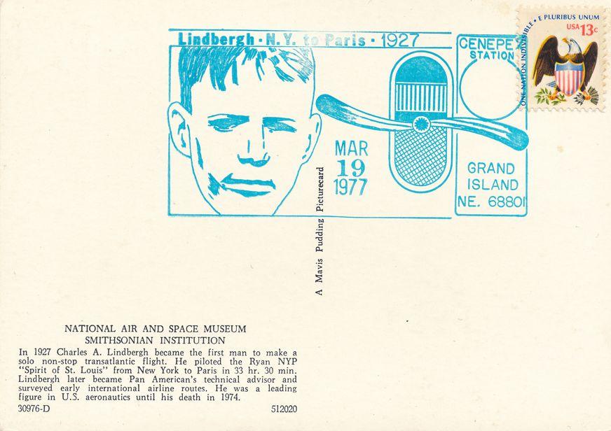 US #1596 - Lindbergh Flight 50 Years - Pictoral Cancel - Grand Island 1977 - pm 1977 at Grand Island NE