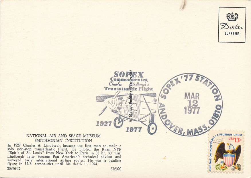 US #1596 - Lindbergh Flight 50 Years - Pictoral Cancel - SOPEX Andover MA 1977 - pm 1977