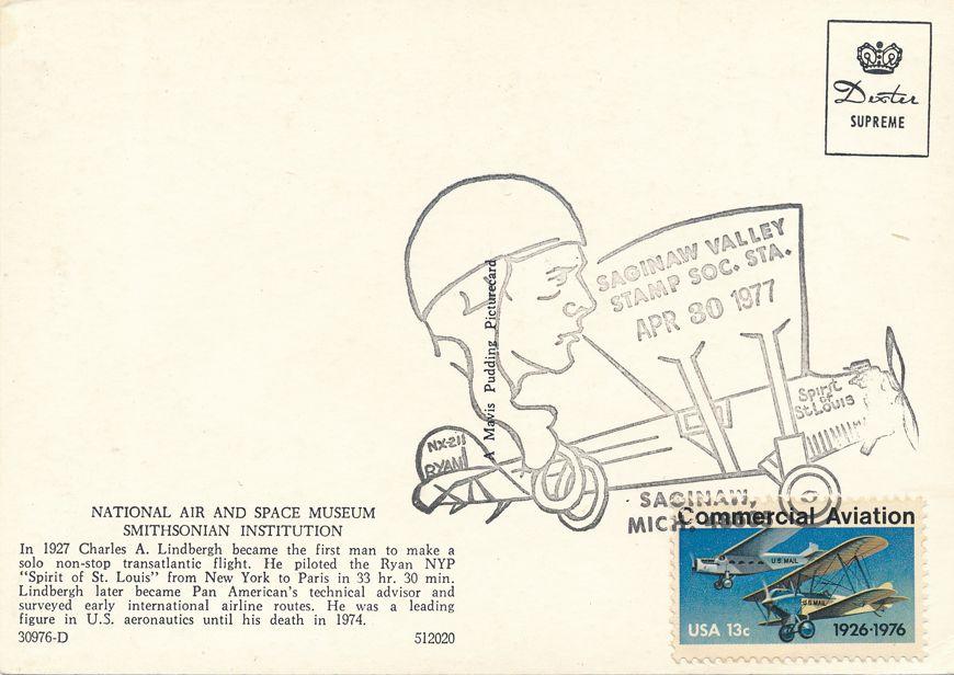 US #1684 - Lindbergh Flight 50 Years - Pictoral Cancel - Saginaw Valley MI - pm 1977 at Saginaw MI