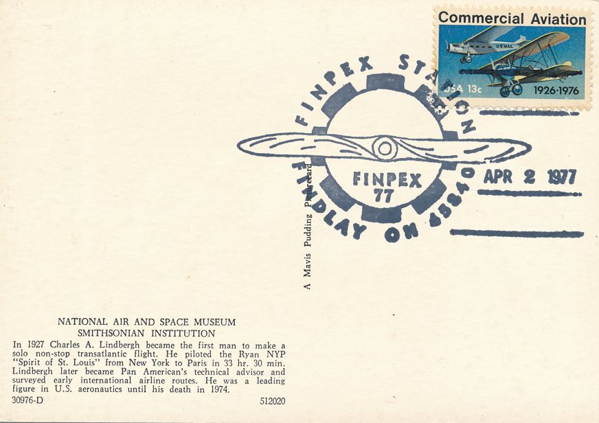 US #1684 - Lindbergh Flight 50 Years - Pictoral Cancel - FINPEX Findlay OH 1977 - pm 1977