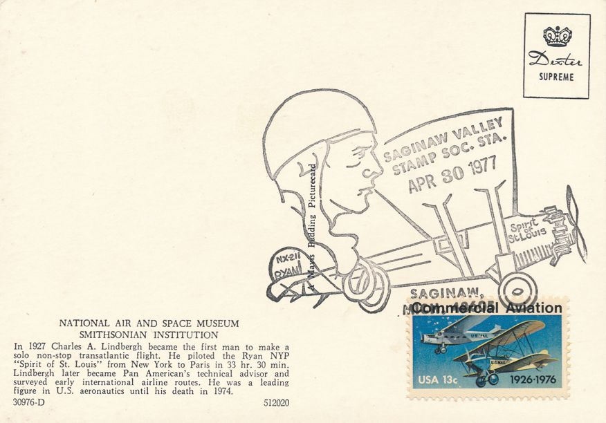 US #1684 - Lindbergh Flight 50 Years - Saginaw Valley MI 1977 - Pictoral Cancel - pm 1977 at Saginaw MI