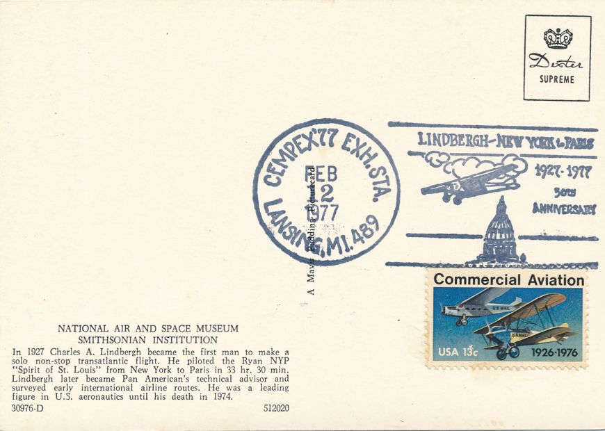 US #1684 - Lindbergh Flight 50 Years - Pictoral Cancel - CEMPEX 1977 Lansing MI - pm 1977