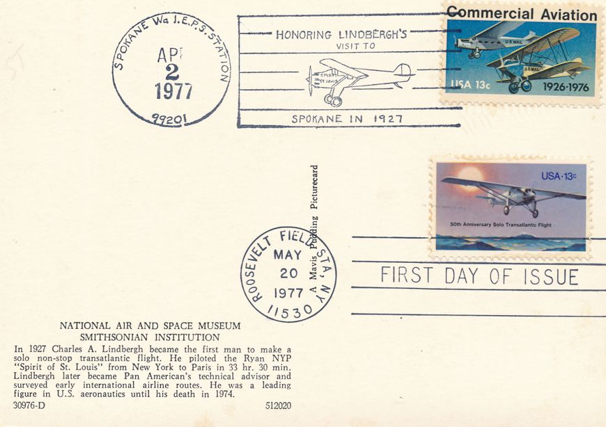 US #1710 - FDC Spirit of St Louis - US# 1684 Pictoral Cancel Spokane WA - pm 1977 at Roosevelt Field NY