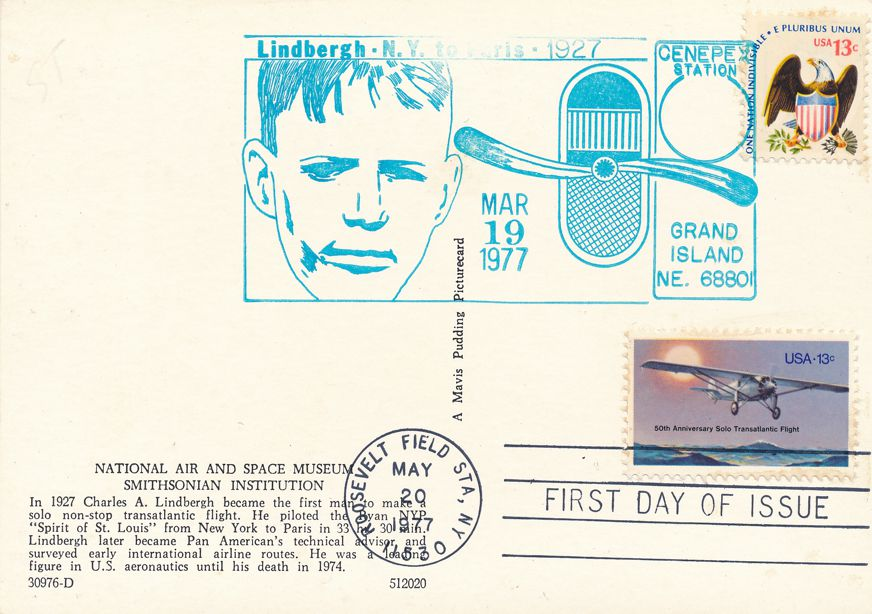 US #1710 - FDC Spirit of St Louis - US# 1596 Pictoral Cancel CENEPEX Grand Island NE - pm 1977 at Roosevelt Field NY