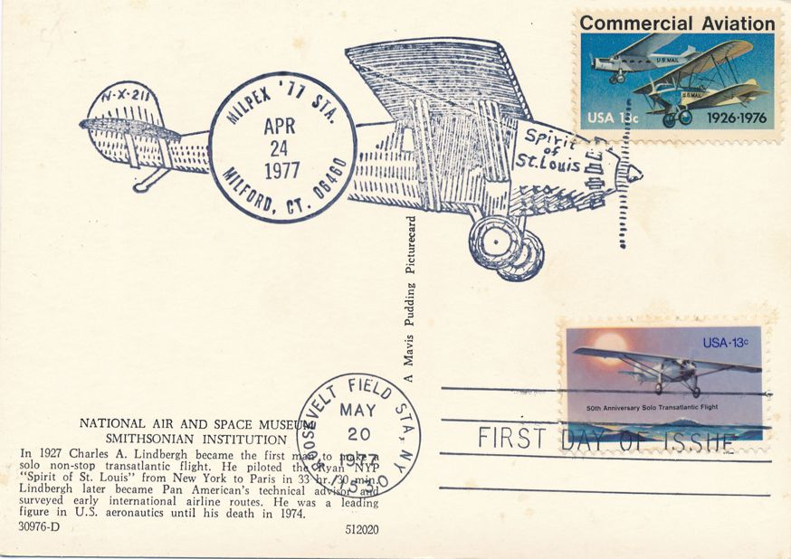 US #1710 - FDC Spirit of St Louis - US# 1684 Pictoral Cancel MILPEX Milford CT 1977 - pm 1977 at Roosevelt Field NY