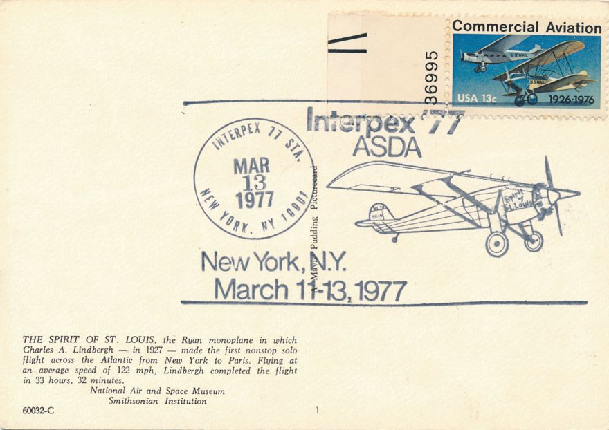 US #1684 - Lindbergh Flight 50 Years - Pictoral Cancel INTERPEX 1977 - pm 1977 at New York City