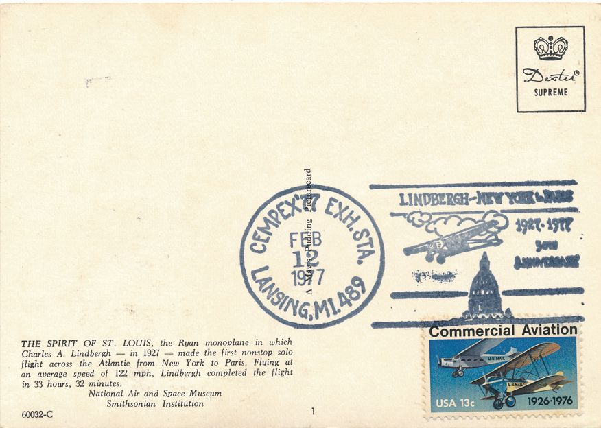 US #1684 - Lindbergh Flight 50 Years - CEMPEX 1977 Pictoral Cancel - pm 1977 at Lansing MI