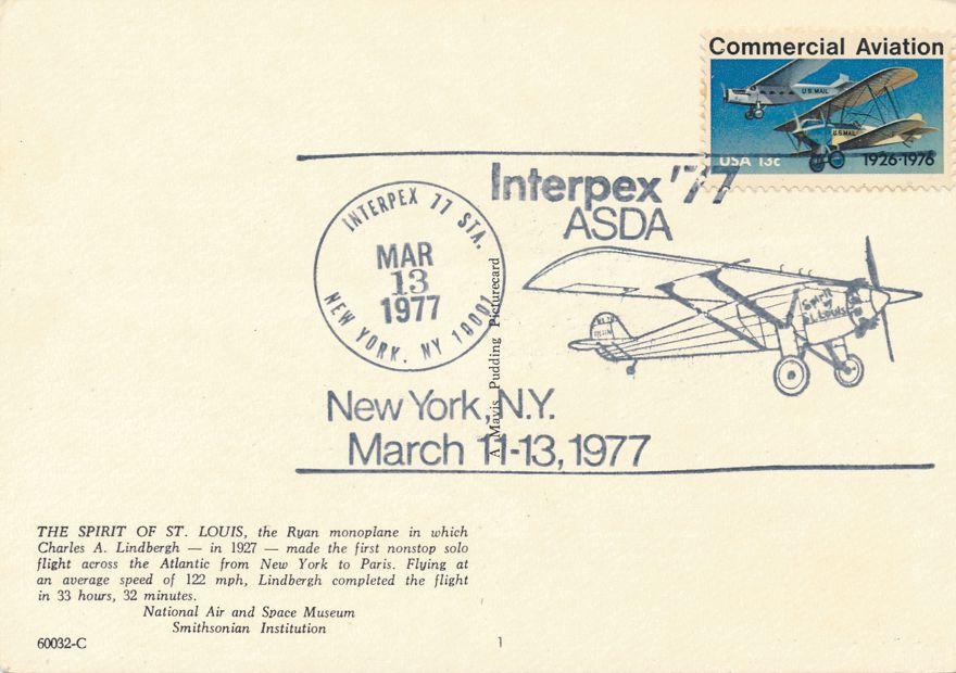 US #1684 - Lindbergh Flight 50 Years - INTERPEX 1977 Pictoral Cancel - pm 1977 at New York City
