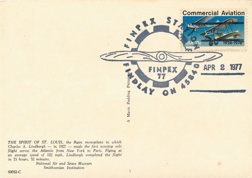 US #1684 - Lindbergh Flight 50 Years - FINPEX 1977 Pictoral Cancel - pm 1977 at Findlay  OH