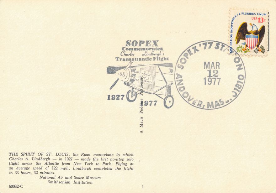 US #1596 - Lindbergh Flight 50 Years - SOPEX Andover MA 1977 - Pictoral Cancel - pm 1977