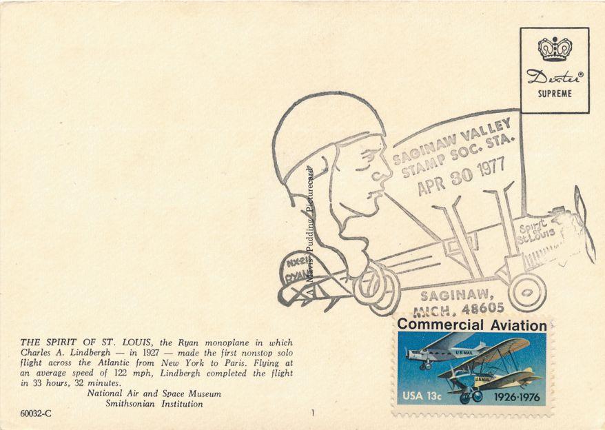 US #1684 - Lindbergh Flight 50 Years - Saginaw Valley MI - Pictoral Cancel 1977 - pm 1977 at Saginaw MI