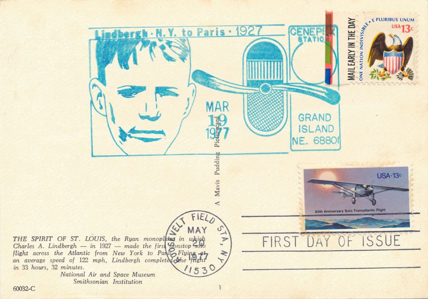 US #1710 - FDC Spirit of St Louis - US# 1596 CENEPEX Pictoral Cancel Grand Island NE - pm 1977 at Roosevelt Field NY