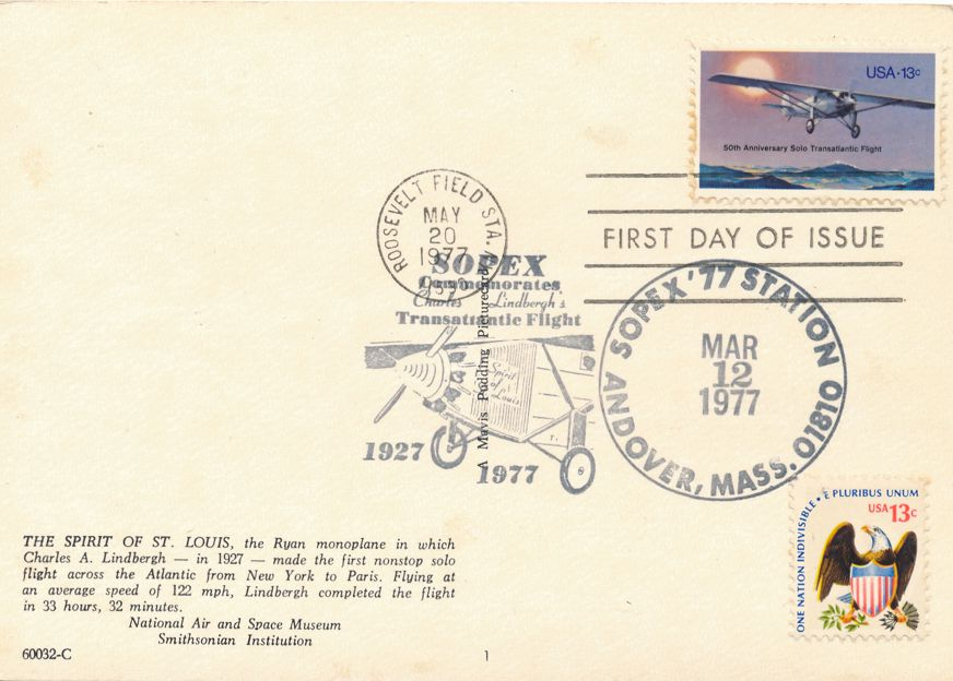 US #1710 - FDC Spirit of St Louis - US# 1596 SOPEX 1977 Pictoral Cancel Andover MA - pm 1977
