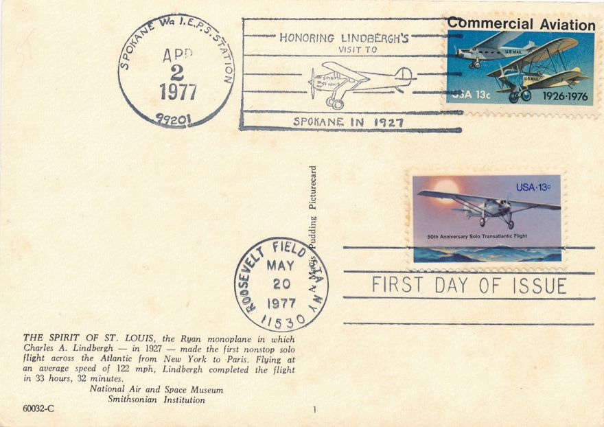 US #1710 - FDC Spirit of St Louis - 1977 Pictoral Cancel on US# 1684 - Spokane WA - pm 1977 at Roosevelt Field NY