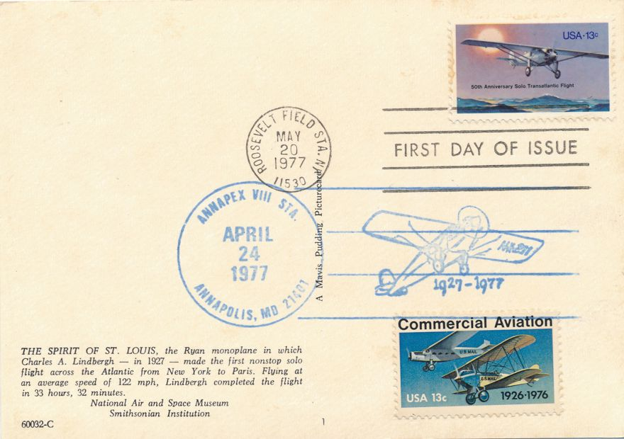 US #1710 - FDC Spirit of St Louis - 1977 Pictoral Cancel ANNAPEX on #1684 - pm 1977 at Roosevelt Field NY