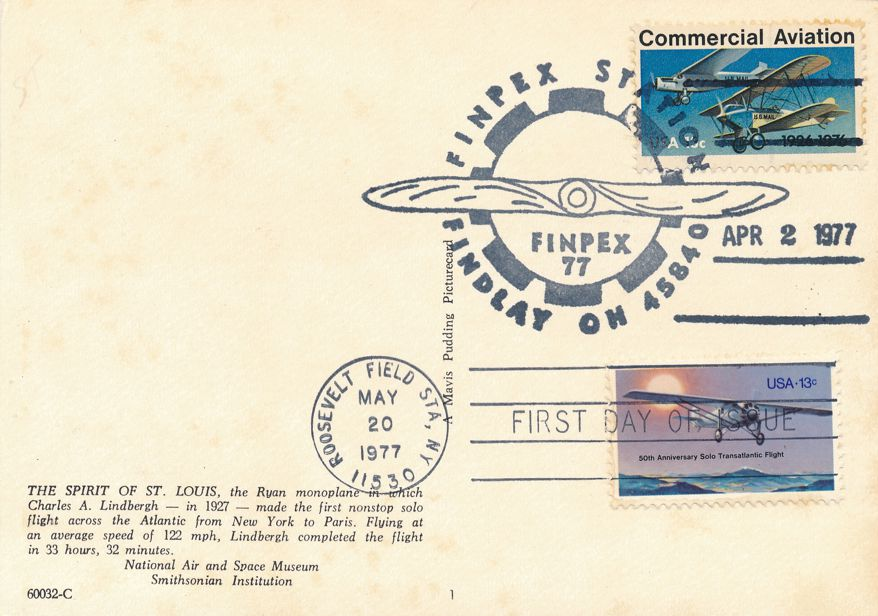 US #1710 - FDC Spirit of St Louis - 1977 FINPEX Pictoral Cancel on #1684 - pm 1977 at Roosevelt Field NY