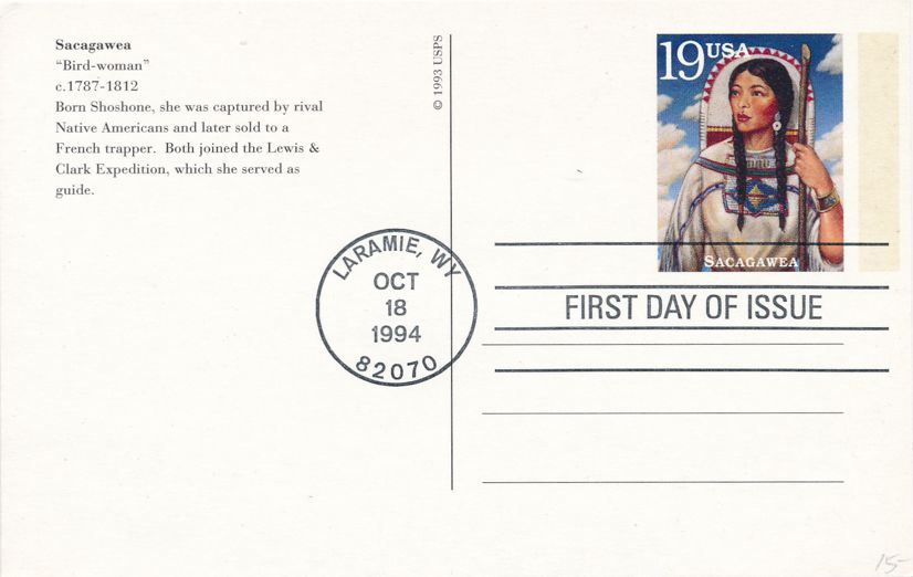 US #UX196 - FDC - October 18, 1994 Laramie WY - Sacagawea on Postal Card - pm 1994