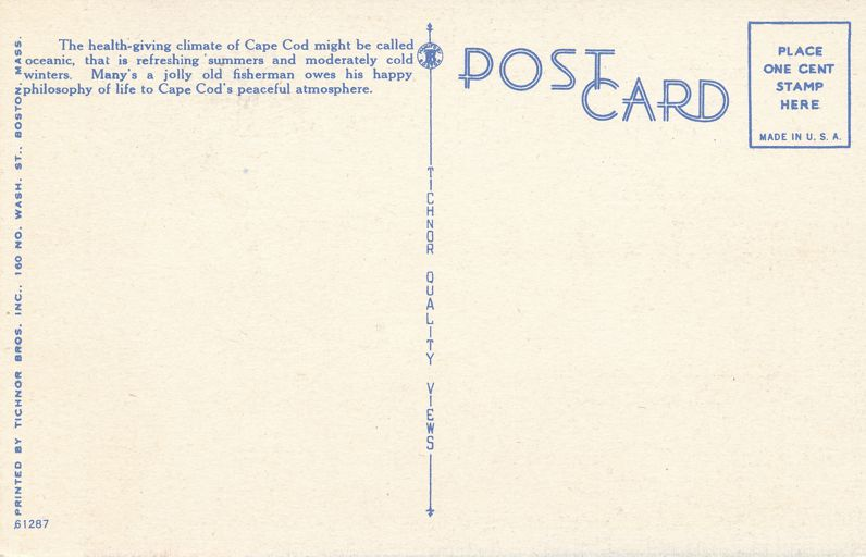 Old Fisherman in Oceanic Health-giving Climate of Cape Cod, Massachusetts - Linen Card