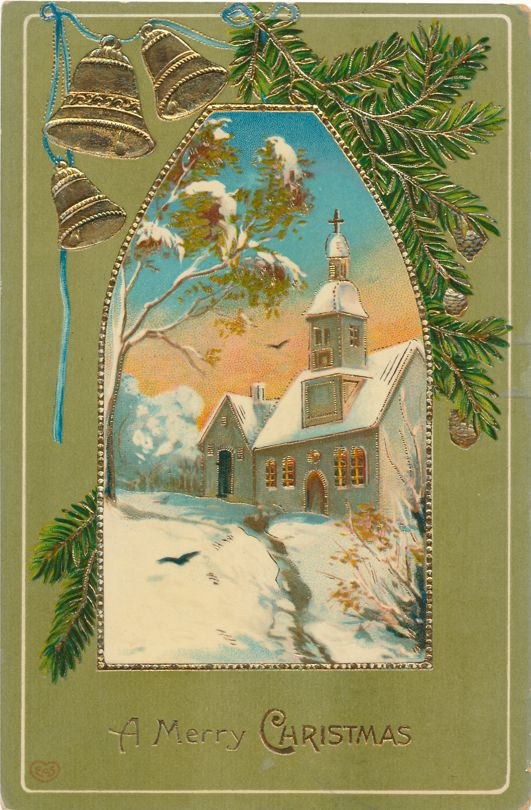 Merry Christmas Greetings - Bells and Winter Church Scene - Divided Back