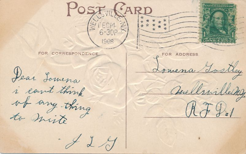 May Only Golden Days Be Yours - Rose Greetings - pm 1908 at Wellsville NY - Divided Back