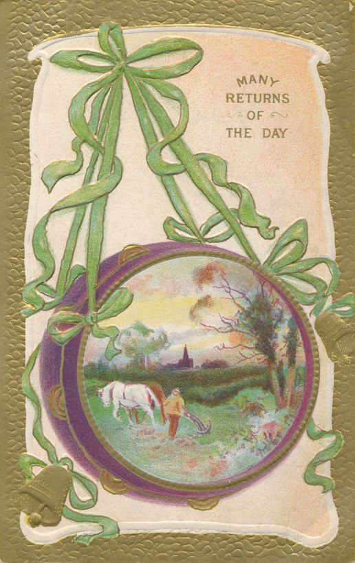 Many Returns of the Day - Greetings - Farming Scene - Divided Back