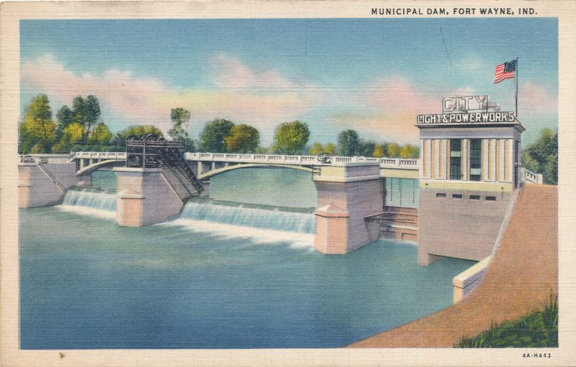 Municipal Dam at Fort Wayne, Indiana - Linen Card