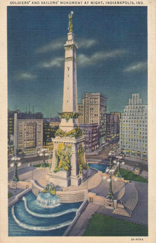 Night View Soldiers' and Sailors' Monument - Indianapolis, Indiana - Linen Card