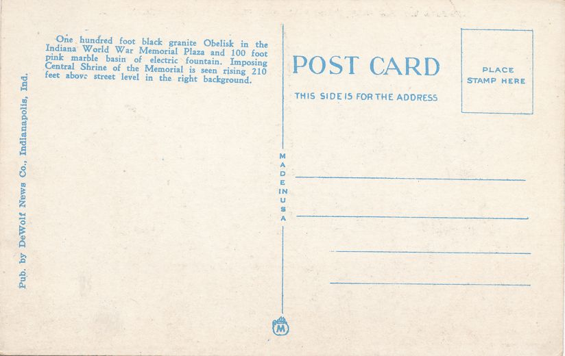 Indianapolis - Indiana World War Memorial and Plaza - Linen Card