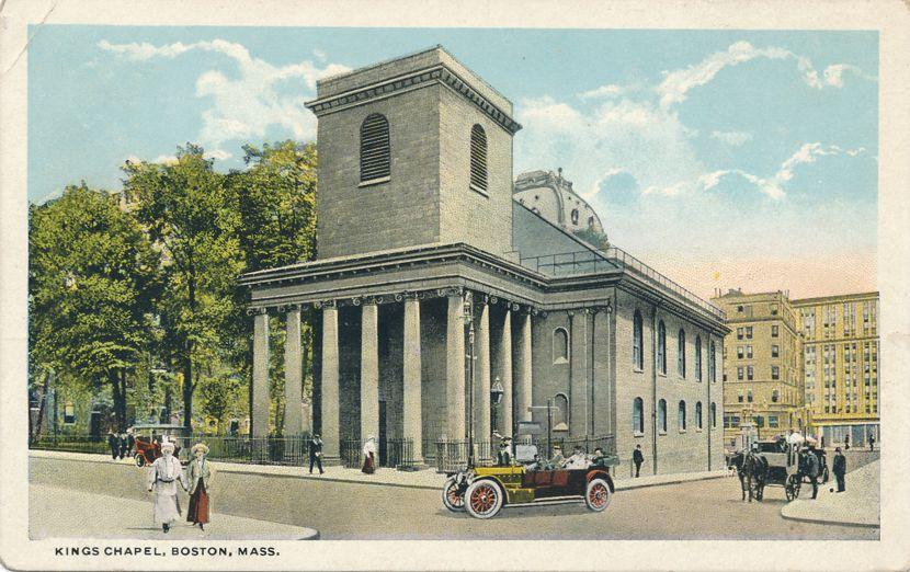 Old Auto at Kings Chapel at Boston, Massachusetts - White Border