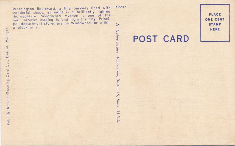 Woodward Avenue and Washington Boulevard - Detroit, Michigan - Linen Card