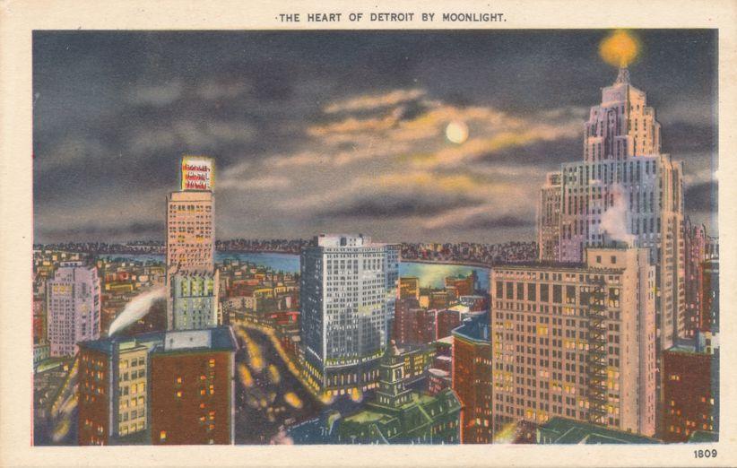 The Heart of Detroit, Michigan by Moonlight - Linen Card