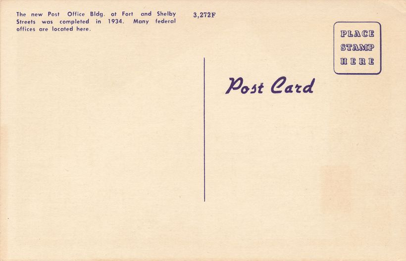 New Post Office (completed in 1934) Detroit, Michigan - Linen Card