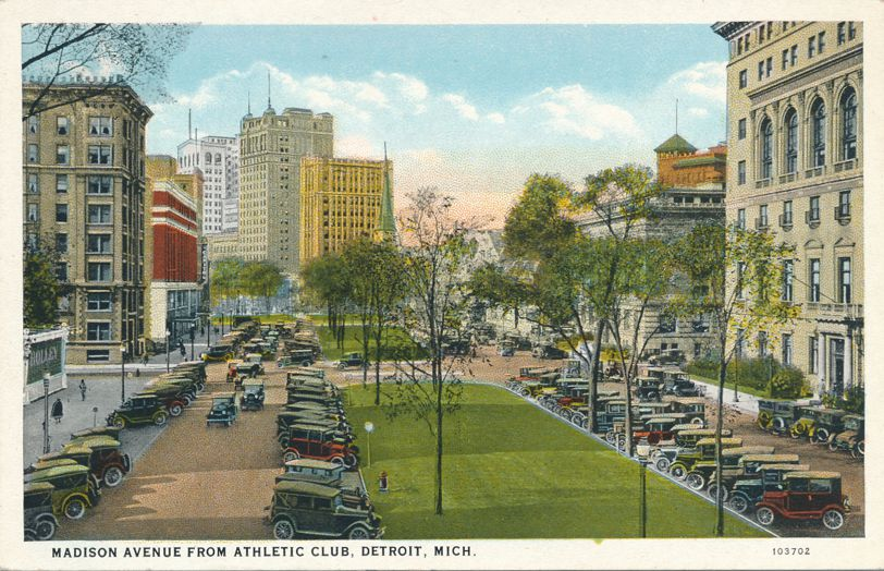 Old Autos on Madison Avenue - Detroit, Michigan - View from Athletic Club - White Border