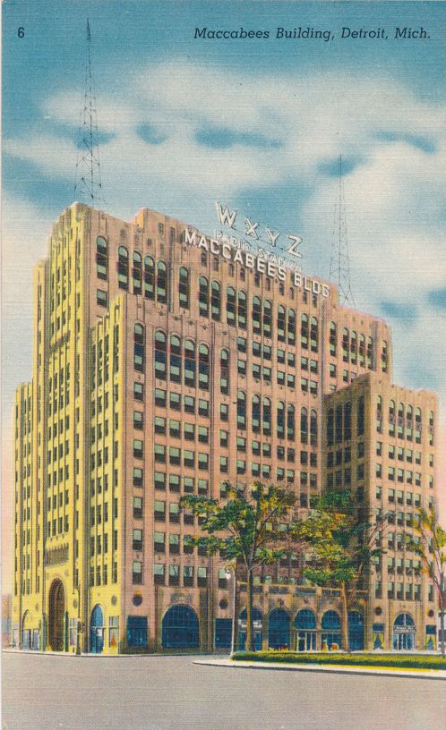 Radio Station WXYZ on Maccabees Building - Detroit, Michigan - Linen Card