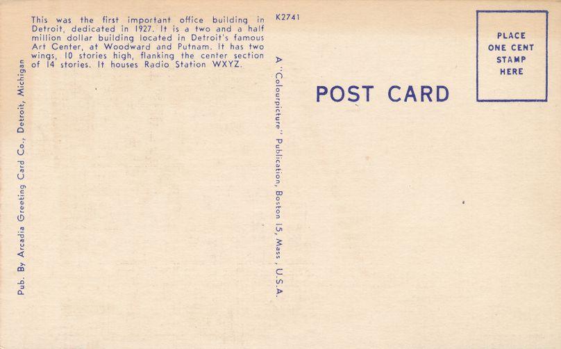 Radio Station WXYZ on Maccabees Building - Detroit, Michigan - Linen Card