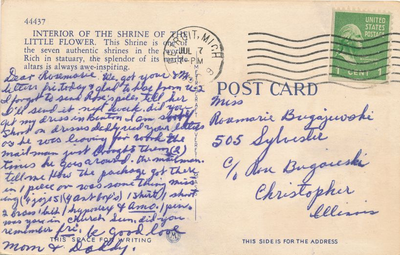 Interior Shrine of the Little Flower Church - Royal Oak, Michigan - pm 1950 - Linen Card