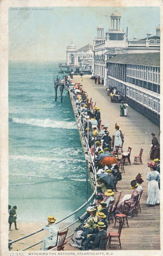 Watching the Bathers -Atlantic City, New Jersey - pm 1910 - Divided Back - Detroit Publishing