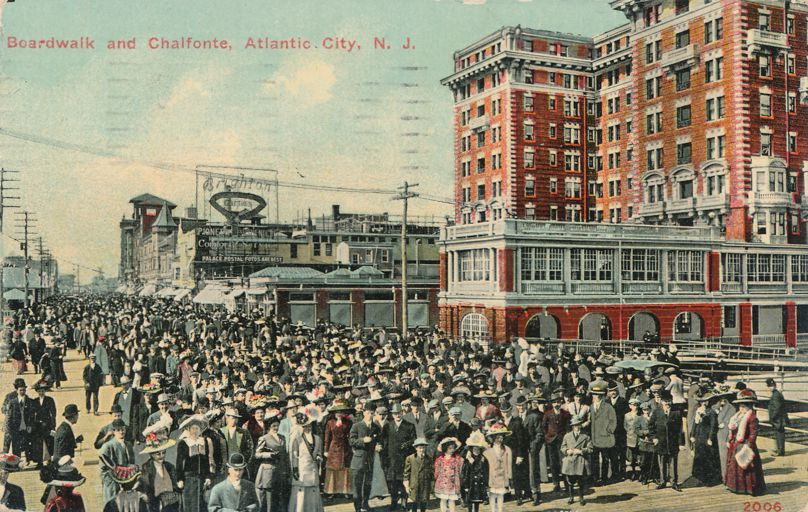 Huge Crowd on Boardwalk at Chalfonte Hotel - Atlantic City, New Jersey - pm 1911 - Divided Back