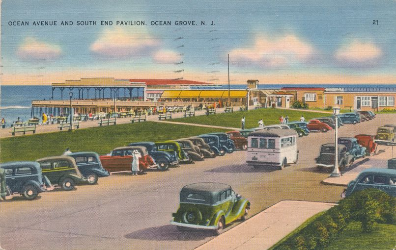 Old Autos on Ocean Drive at South End Pavilion - Ocean Grove, New Jersey - pm 1937 - Linen Card
