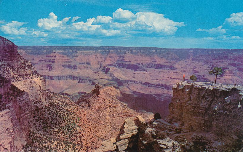 Grand Canyon National Park, Arizona 4 to 18 miles wide, 1 mile deep - pm 1971 at Williams AZ - Fred Harvey