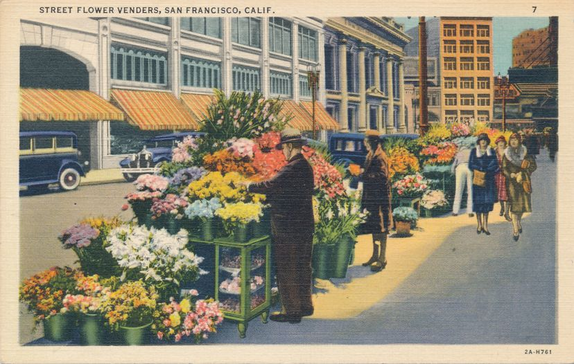 Street Flower Vendors in Downtown San Francisco, California - Linen Card